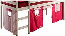 Spielvorhang ERIK Bettvorhang Vorhang zu Hochbett Rutschbett Kinderbett in pink/rosa