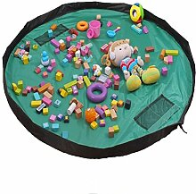 Spielzeug Aufbewahrungstasche, 150cm tragbar groß, Aufbewahrungstasche, Kinder Puppen Play Mat, Mehrzweck-Kid 's Aktivität, Reise Picknick Matte Tasche, Organizer Storage Teppich grün