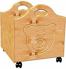 Spielzeugkiste Bär aus Holz, mit Rollen, Bio