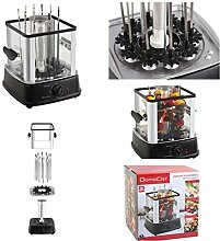 Spießgrill mit 10 rotierende Edelstahl-Grillspieße (Elektro-Grill, Schaschlik-Grill, Timer, Fettauffangschale, Glas-Wände)