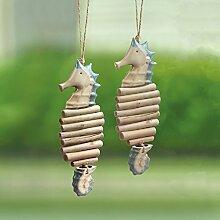 spihome Keramik und Holz Mobile Windspiel, Set von