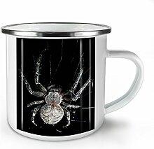 Spinne Netz Foto Tier Weiß Emaille-Becher 10 oz | Wellcoda