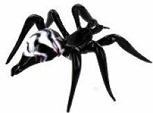 Spinne Schwarz Weiß Violett- Figur aus Glas Schwarze weiße Violette Tarantel - Dekoration Vitrine Glasfigur Glastier