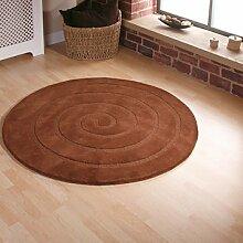 Spirale braun handgetuftet indischen 100% Handgetuftet Wolle 180x 180cm (Kreis) Moderne Teppiche Günstige Teppiche