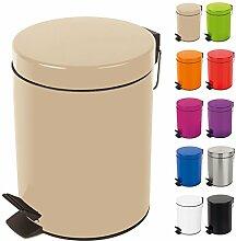 Spirella Kosmetikeimer Sydney Beige Mülleimer Treteimer Abfalleimer - 3 Liter – mit herausnehmbaren Inneneimer