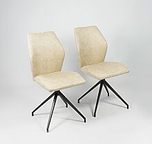 Spirit 02 Vs Stuhl, 2er Set Metall Schwarz pulverbe. Vintage Fabric Beige