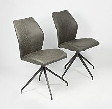 Spirit 02 Vs Stuhl, 2er Set Metall Schwarz pulverbe. Vintage Fabric Anthrazi