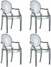 Spirit Esszimmerstühle 4er set | Design Stuhl mit Armlehnen | Transparent hochwertige Verarbeitung - komfortables Sitzen | Smoke - Damiware (Schwarz)