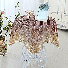 Spitze bestickte runde Tischdecke, Blumenmuster