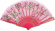 Spitze-faltende Ventilator-Qualitäts-Dame des Mädchens Retro- Handfächer # Rose (Rosen-Rot)