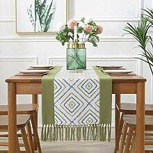 Spleißen Tischläufer, Baumwolle Leinen Quaste