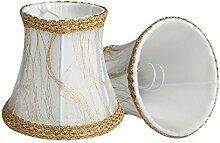 Splink 2 Pcs Lampenschirm E12/E14 Handgemacht Stoff Stehlampe Tischlampenschirm mit Gold Trim Vintage Barockstil