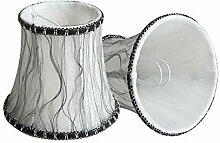 Splink 2 Pcs Lampenschirm E14 Organza Stoff Stehlampe Tischlampenschirm mit Schwarz Lace Trim Vintage Barockstil Stil