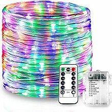 Splink LED Lichterschlauch RGB Bunte Lichterkette mit 8 Modi und Fernbedienung10M Batteriebetriebe IP68 Wasserdicht Lichtschlauch für Innen Außen Balkon GartenParty Weihnachten