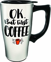 Spoontiques 12786 But First Coffee Ceramic Travel