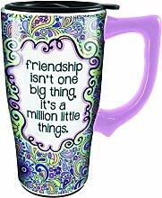 Spoontiques 12788 Friendship Ceramic Travel Mug,