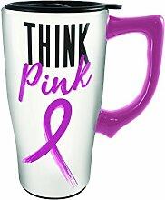 Spoontiques 12794 Think Pink Ceramic Travel Mug,