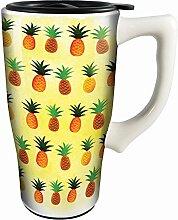 Spoontiques 12803 Pineapples Ceramic Travel Mug,