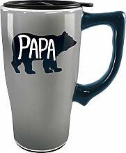 Spoontiques 12854 Pap Bear Ceramic Travel Mug, 18