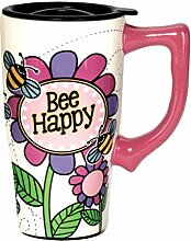 Spoontiques Bee Happy Travel Mug, Multicolor