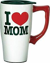 Spoontiques I Love Mom Travel Mug, White