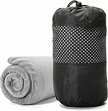 Sporthandtuch, Tezoo 2 Stück Handtücher-Set Duschtuch 140 x 70 cm Handtuch 75 x 35 cm aus Microfaser Weich Ultra Saugfähig Reisehandtuch Badetuch Strandhandtuch Sauna Handtuch Frottier-Set Grau