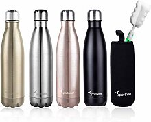 Sportneer Wasserflasche, 17 Unzen/ 500 ml Doppelte