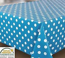 Spots blau weiß Tischdecke Wachstuch, abwischbar, Vinyl PVC zuschneidbar Polka Dot Blau, Vinyl plastik, blau, 100_x_140_cm
