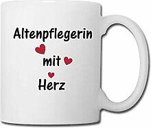 Spreadshirt Altenpflegerin Mit Herz Tasse, Weiß