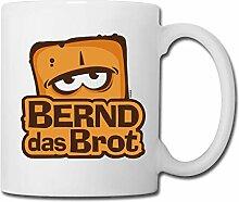 Spreadshirt Bernd Das Brot Logo Tasse, Weiß