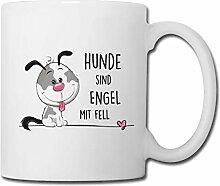 Spreadshirt Hunde Sind Engel Mit Fell Tasse, Weiß
