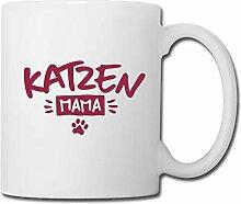 Spreadshirt Katzen Mama mit Pfotenabdruck Tasse,
