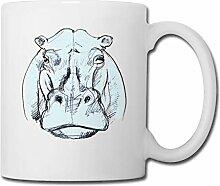 Spreadshirt Nilpferd Zeichnung Tasse, Weiß