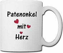 Spreadshirt Patenonkel Mit Herz Tasse, Weiß