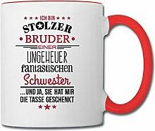 Spreadshirt Stolzer Bruder Fantastische Schwester Spruch Tasse zweifarbig, Weiß/Ro