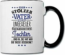 Spreadshirt Stolzer Vater Einer Fantastischen Tochter Tasse zweifarbig, Weiß/Schwarz