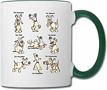 Spreadshirt Witziges Hunde Yoga Comic Tasse zweifarbig, Weiß/Dunkelgrün