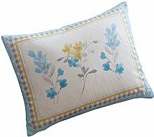 "Spring Breeze, mit Wasserfarbe Florals, Tropen-Design, Polyester, Duck Egg ( Blue Grey Yellow ), Floral Boudoir Cushion - 15"""" x 11"