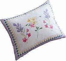 "Spring Breeze, mit Wasserfarbe Florals, Tropen-Design, Polyester, Pink ( White Lime Green Purple Yellow ), Floral Boudoir Cushion - 15"""" x 11"