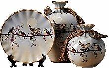SPRINGHUA. Statuen Retro Keramik Vase dreiteilig