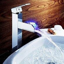Sprinkle? - Farbwechsel LED waterall Waschbecken Wasserhahn (gro?) mit Ablaufgarnitur