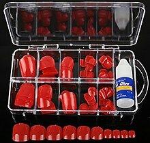 spritech (TM) 100Pre Pure Color Design falsche Nägel Zehen Tipps mit einem gratis 3G Nagel Kleber für Fake Fußnägel Nail, Leuchtendes Rot, Einheitsgröße