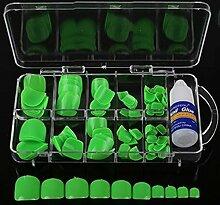 spritech (TM) 100Pre Pure Color Design falsche Nägel Zehen Tipps mit einem gratis 3G Nagel Kleber für Fake Fußnägel Nail, grün, Einheitsgröße