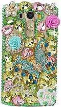 Spritech(TM) Hohe Qualität Strass Schutzhülle LG G2 Hülle Case Cover Bunte PC Material Muster Stylisches Designer Case echten Kristallen Handy Tasche Etui
