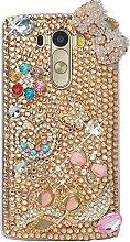 Spritech(TM) Hohe Qualität Strass Schutzhülle LG G4 Case Cover Bunte PC Material Muster Stylisches Designer Case echten Kristallen Handy Tasche Etui