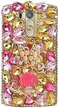 Spritech(TM) Hohe Qualität Strass Schutzhülle LG K7/LG Tribute 5 Hülle Case Cover Bunte PC Material Muster Stylisches Designer Case echten Kristallen Handy Tasche Etui