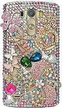 Spritech(TM) Schutzhülle für LG G3 D855 3D Schale Handgefertigte Hülle PC Harte Strass Diamant Tasche Glänzend Kristall Cover Transparent Handytasche