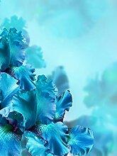 Spritzschutz aus Glas mit blauer Blume,