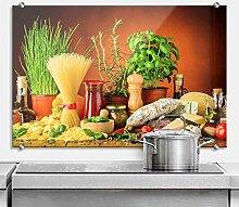 Spritzschutz Glasbild - Italienisch Kochen - mit
