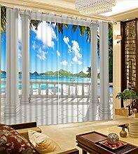 Sproud 3D-Druck Vorhänge Sonnenlicht Strand Landschaft Verdunkelungsvorhänge Personalisierter Roman Pavillon Wohnzimmer Vorhänge Fenster Einrichtung-260Cmx300Cm